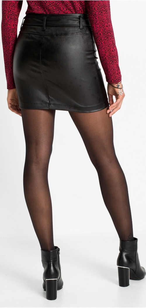 Kožená dámská minisukně černé barvy