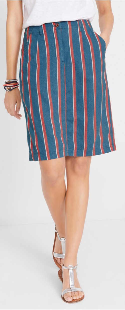 Pruhovaná lněná sukně v délce nad kolena