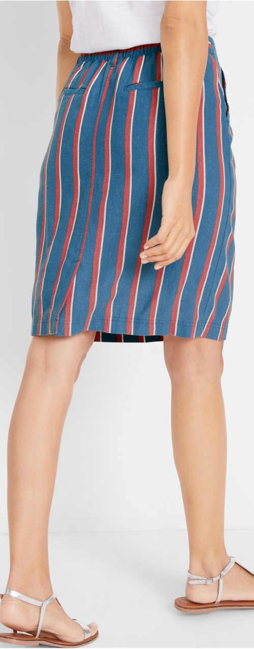 Pruhovaná modro červená dámská sukně
