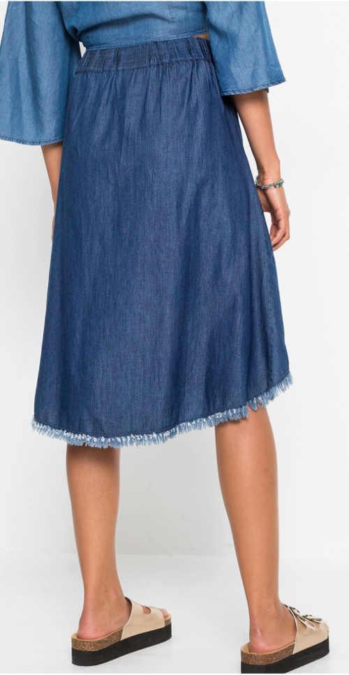 Riflová dámská sukně s roztřepenými spodními okraji