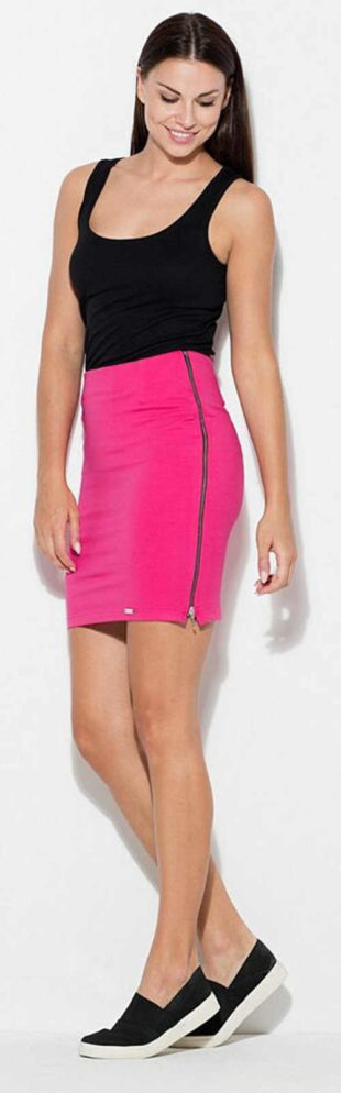Růžová dámská sukně s dlouhými bočními zipy