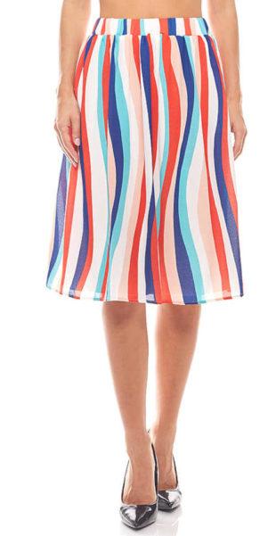 Dámská letní barevná sukně v moderním proužkovaném vzoru