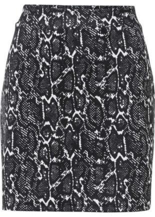 Dámská trendy mini sukně černá s hadím potiskem