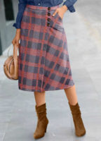 Módní dámská kostkovaná pouzdrová sukně v midi délce