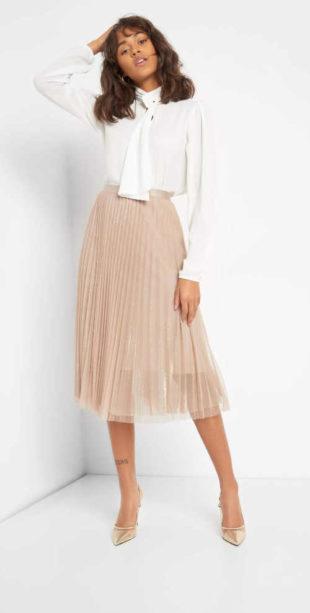Módní dámská plisovaná sukně z tylu v komfortní midi délce