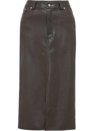 Úzká sukně v moderní midi délce s rozparkem z umělé kůže