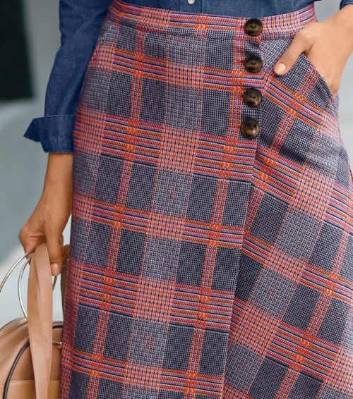 károvaná pouzdrová dámská sukně