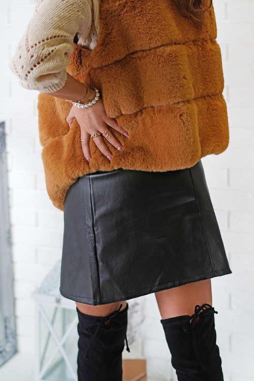 koženková černá sukně vpředu na zip