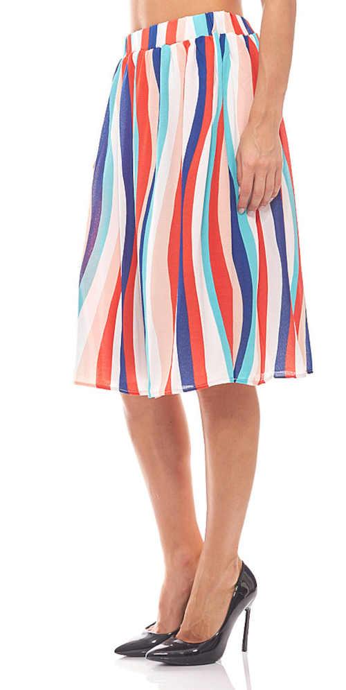 letní sukně v moderním proužkovaném vzoru