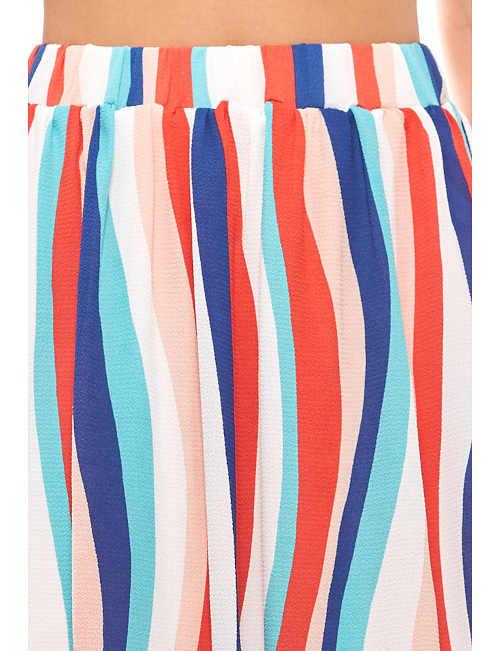 proužkovaná midi barevná letní sukně