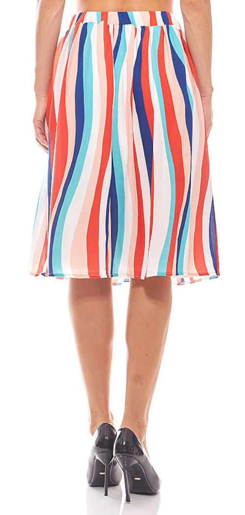 sukně barevná proužkovaná ke kolenům