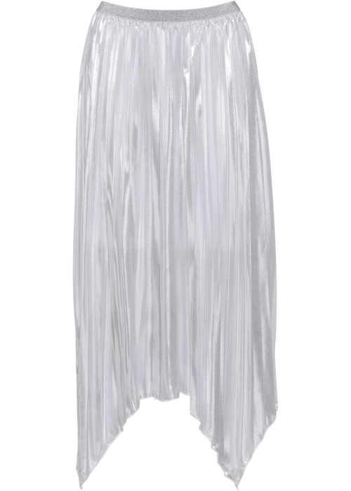 Asymetrická dlouhá skládaná sukně v metalickém provedení