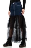 Dámská dlouhá sukně v kombinaci džínoviny s tylovým materiálem