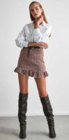 Dámská károvaná krátká sukně s volánkovým lemem