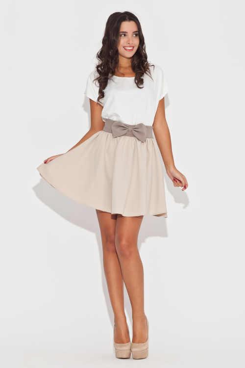 Krátká elegantní dámská sukně s pružným pasem a ozdobnou mašlí