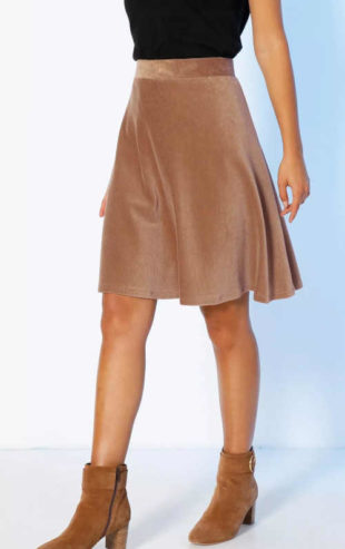 Krátká manšestrová sukně do gumy v hnědé či vínové barvě