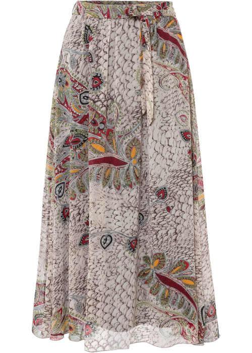 Skládaná dlouhá dámská sukně v pestrobarevném provedení