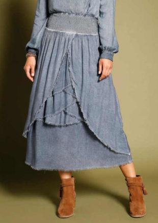 Volánová dámská asymetrická sukně v sepraném vzhledu