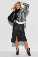 Zavinovací dámská sukně v midi délce v imitaci kůže
