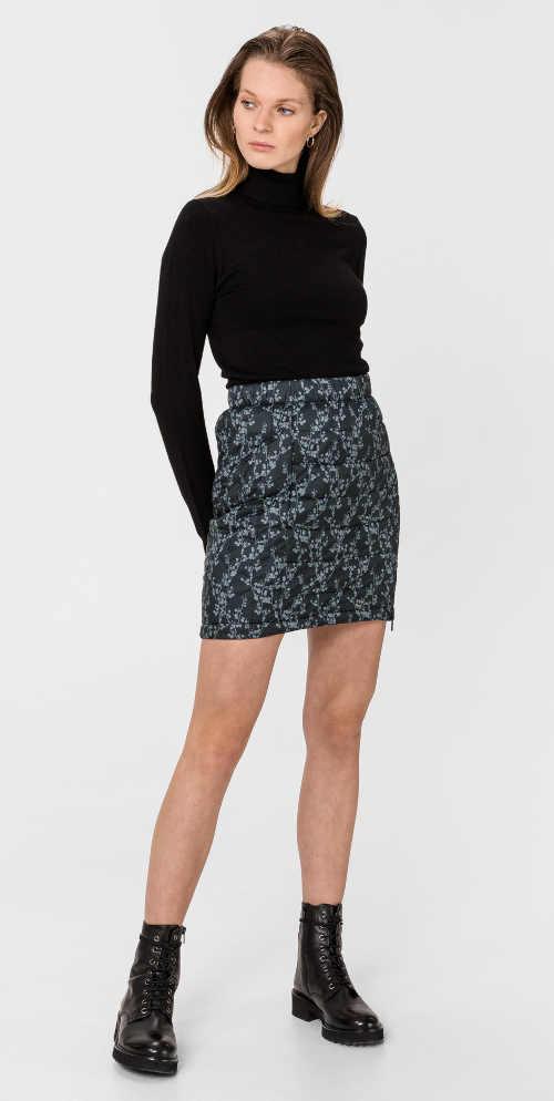 Zimní krátká dámská prošívaná sukně na dvoucestný zip
