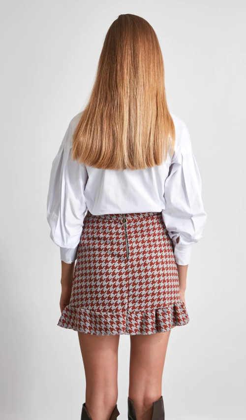 trendy károvaná krátká sukně