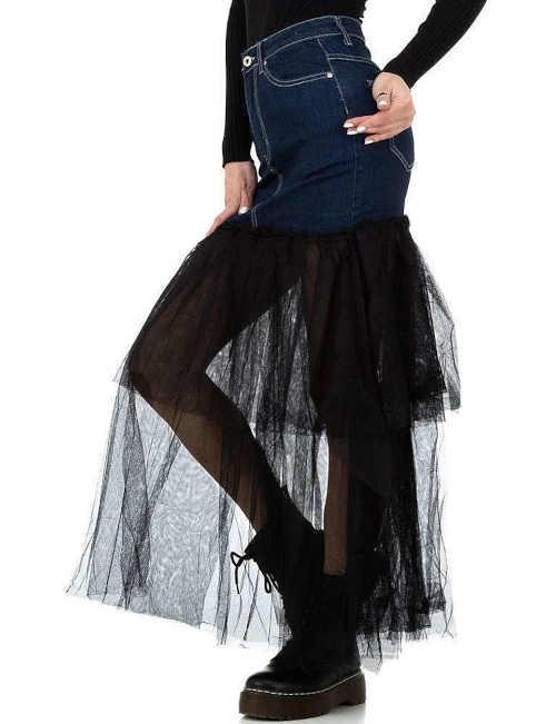 zajímavá sukně v kombinaci dvou materiálů