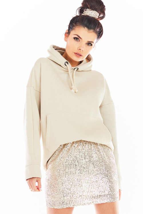 Béžová mini sukně s flitry do pohodlného pružného pasu