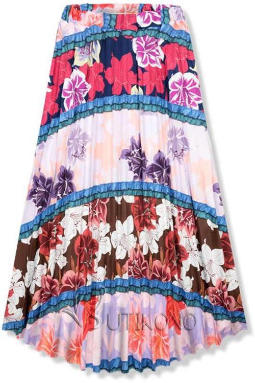 Dámská květovaná moderní sukně v komfortní maxi délce