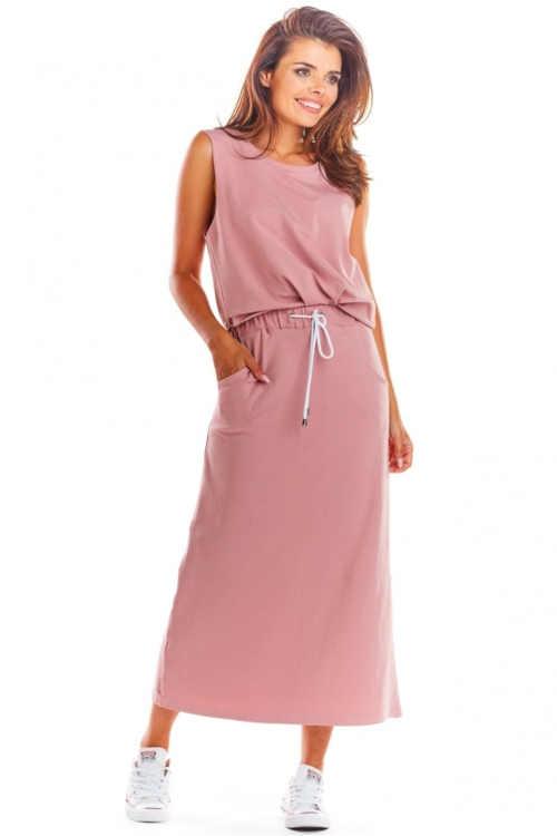 Dlouhá sukně do pružného pasu s integrovanou tkaničkou na zavázání