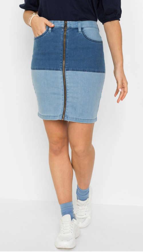 Džínová sukně v patchwork vzhledu z recyklovaného materiálu