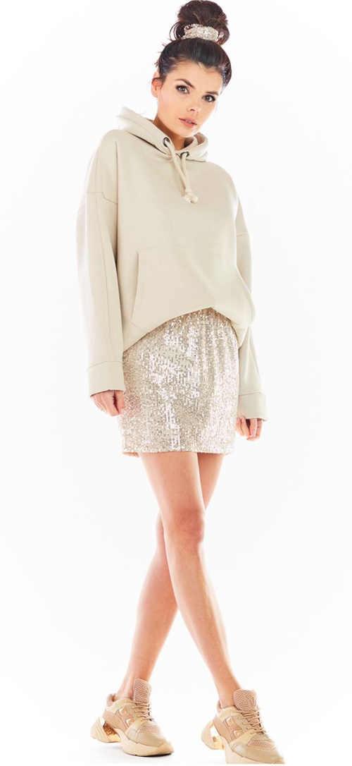 béžová mini sukně s flitry