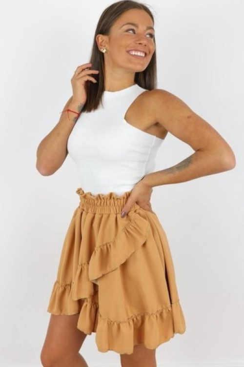 béžová sukně krátká s volány