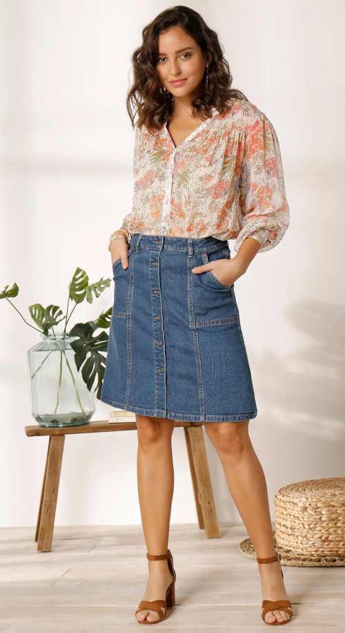 jeansová sukně na knoflíky s kapsami