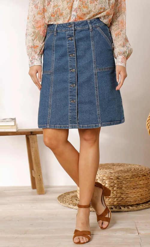 modrá riflová dámská sukně