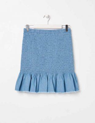 Bavlněná krátká sukně lichotící postavě v modrém provedení