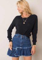 Krátká denimová sukně s kanýrem a zapínáním vpředu na zip