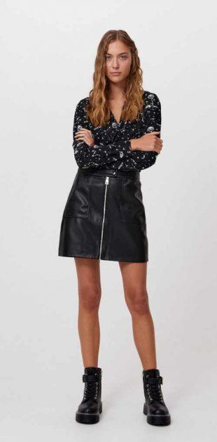 Moderní dámská mini sukně v imitaci kůže vpředu na zip