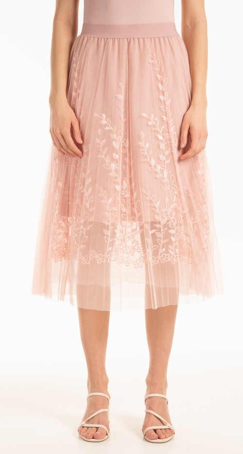 Skládaná tylová sukně s výšivkou v růžovém provedení