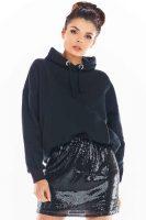 Stylová černá mini sukně s flitry z kvalitního materiálu