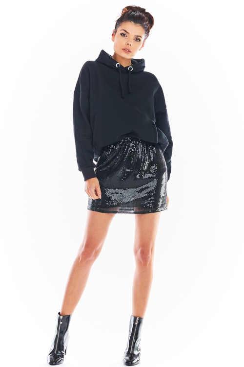 dámská mini sukně černá s flitry