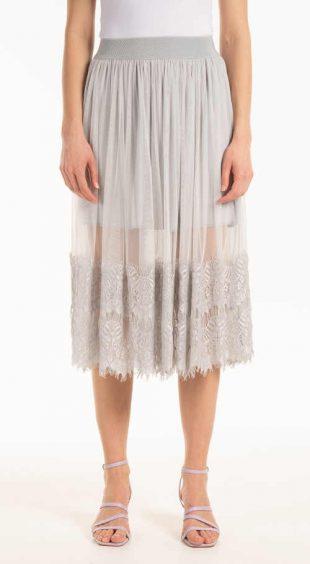 Áčková sukně v midi délce do pružného pasu zdobená krajkou