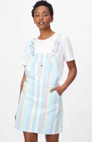 Bavlněná stylová laclová sukně Tommy Jeans v moderním proužku