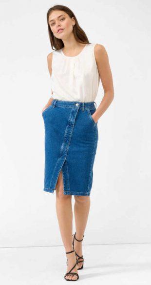 Denimová sukně v midi délce s rozparkem v přední části