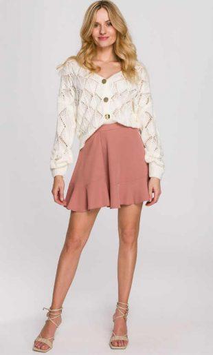 Mini sukně ve starorůžové barvě s volánovým lemem
