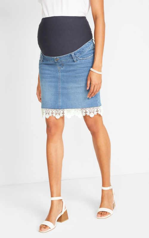 Moderní těhotenská denimová sukně s krajkovými detaily