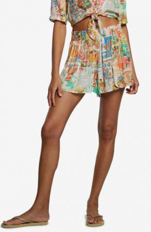 Plážová sukně Desigual v mini délce v pestrobarevném provedení