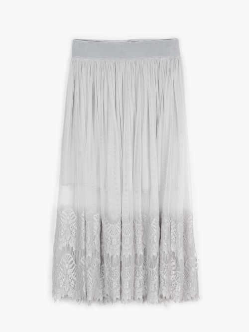 áčková sukně v midi délce s krajkou