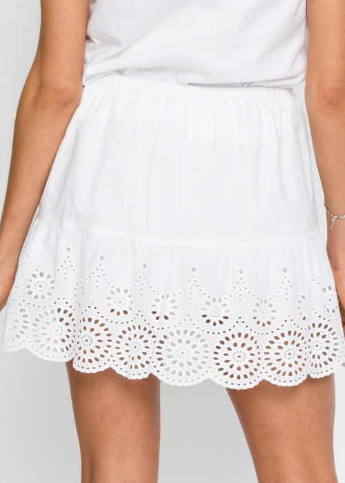 bílá sukně do pružného pasu Bonprix