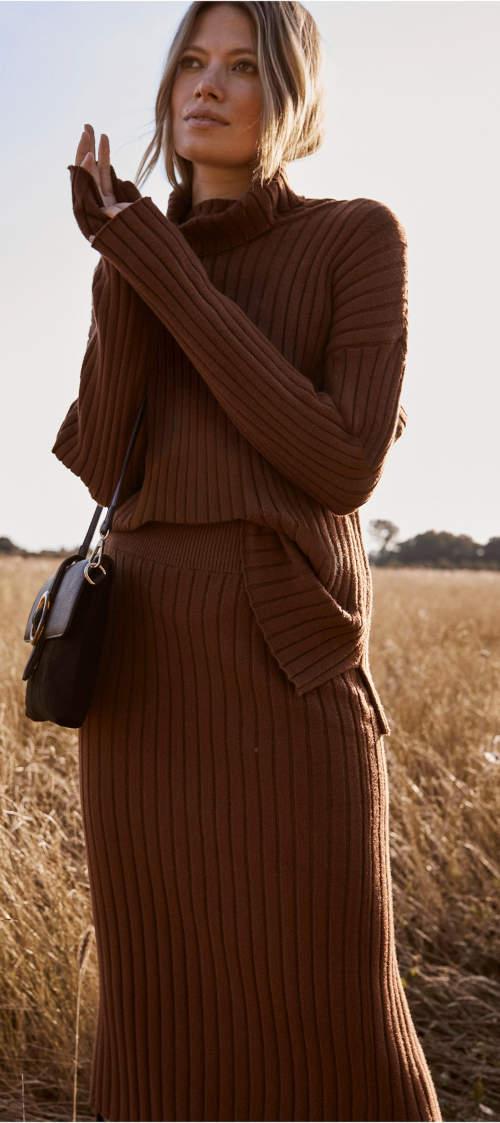 Dlouhá úpletová podzimní sukně