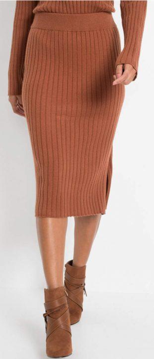 Kaštanově hnědá midi sukně ze žebrovaného úpletu